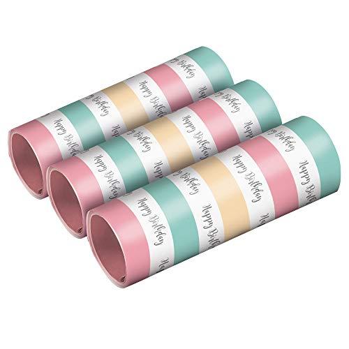 amscan 9903734 3 Luftschlangen Happy Birthday Pastel