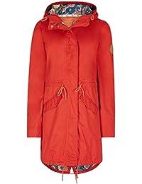Weird Fish Amorite Showerproof Print Lined Parka Jacket Tango Red Size 20