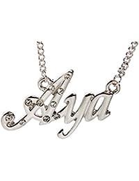 22c485b383ae Kigu AYA Collar con Nombre - Tono Plateado Personalizado - Cadena Ajustable