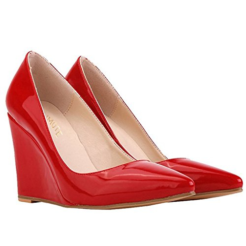 MERUMOTE Damen Y-218 Keilabsatz-Pumps,Spitze Zehe Klassische Leichte Abnutzung Lack Schuhe Wedges Pumps Rot