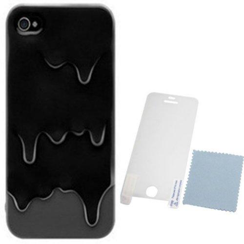 Demarkt Melt Coque Housse 3D Glace fondue Protection pour iPhone 5 Ice Cream dégoulinante Noir et Gris