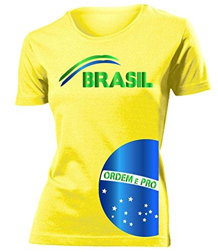 Brasilien Brazil Brasil Fan t Shirt Artikel 3208 Fuss Ball WM 2022 Team Trikot Look Weltmeister Flagge Fahne Frauen Damen Mädchen Girly Gaucho XXL