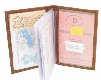 Astuccio per carte di plastica biglietto da visita documenti marrone vera pelle pratico # 703