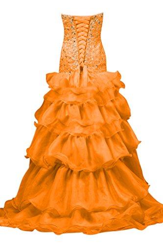 Toscana sposa che si illumina a forma di cuore perla Strass Organza per vestiti Hi-Lo serata Party Ball Bete vestimento Arancione