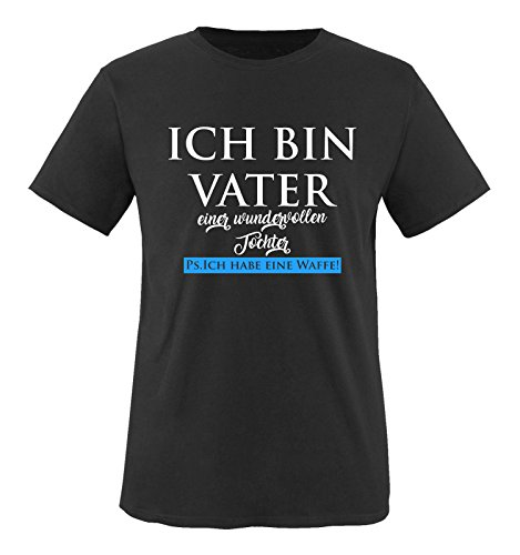 Comedy Shirts - Ich bin Vater Einer wundervollen Tochter. Ps. Ich Habe eine Waffe! - Herren T-Shirt - Schwarz/Weiss-Blau Gr. XXL -