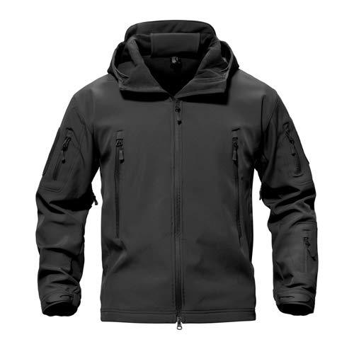 Tarnung Shjzom Shark Skin Military Jacket Herren Softshell Waterpoof Camo Kleidung Tactical Camouflage Army Hoody Winter Coat Black XXXL -