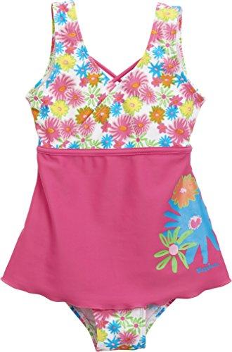 Playshoes Mädchen Einteiler Badeanzug mit Rock Blumenmeer mit UV-Schutz, Mehrfarbig (Pink 18), 110 (Herstellergröße: 110/116) Badeanzug Für Jungen Mit Uv Schutz