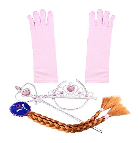 Katara Kit Deluxe Accessori da principessa Elsa, Anna Frozen - Corona, Guanti, Bacchetta magica, Treccia a clip per costume di carnevale per bambine - Rosa Anna