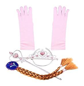 Accesorios de disfraz de Elsa princesa de Hielo - conjunto de guantes, tiara, varita mágica y trenza para niñas de 2 - 9 años - Rosa Claro / Trenza Marrón