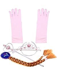 Katara 1098 - Accesorios de disfraz de Elsa princesa de Hielo - conjunto de guantes, tiara, varita mágica y trenza para niñas de 2 - 9 años - ideal para Cosplay, carnaval o cumpleaños - Rosa Claro / Trenza Marrón