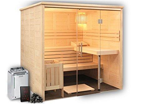 Alaska View Sauna Massivholz mit Glasfront und Harvia Xenio Bio Topclass Combi Saunaofen