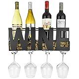 Se sei un intenditore di vini o un appassionato di vini questo 3-in-1casual vino rack a parete mantiene i tuoi bottiglie e bicchieri organizzata a portata di mano. L' alta qualità nero opaco, telaio in metallo dispone di una silhouette ortog...