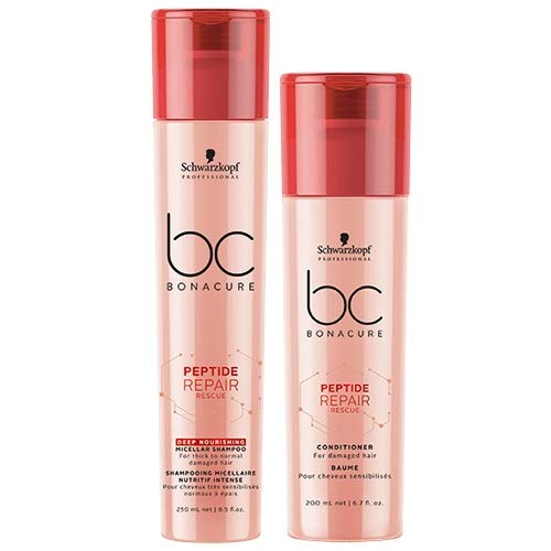 Schwarzkopf BC Bonacure DUO Peptide Repair Rescue Deep Nourishing Micellar Shampoo 250ml & Conditioner 200ml -