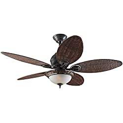 Hunter Fan 24457 Hunter Caribbean Breeze Bronze patiné 137 cm Ventilateur de plafond avec éclairage, Acier, 69 W, 137 cm