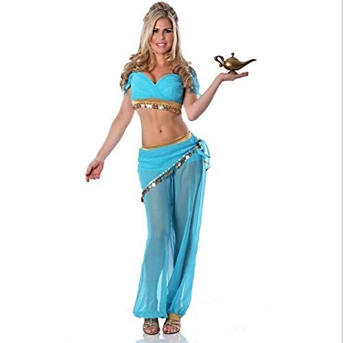 Für Erwachsene Aladin Kostüm - Halloween Performance Kostüm Aladdin Zauberlampe Lily Prinzessin Kostüm Sexy Bauchtanz Performance Kleidung(XXL)
