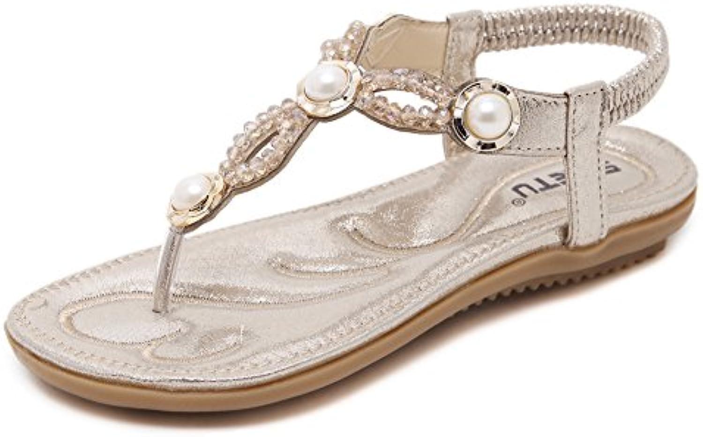minetom & reg; femmes a été un strass, clip toe sandales boho plage strass, un tongs flats des sandales post - string élastique... c2019f