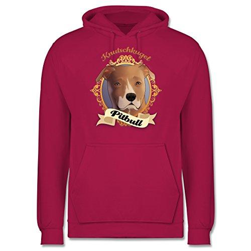 Hunde - Pitbull - Knutschkugel - Männer Premium Kapuzenpullover / Hoodie Fuchsia