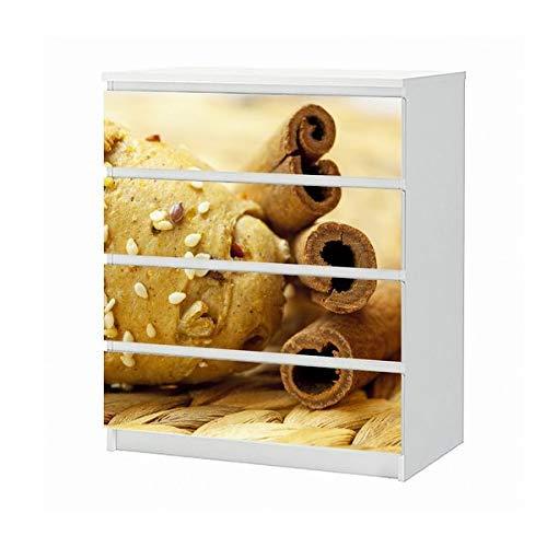 Set Möbelaufkleber für Ikea Kommode MALM 4 Fächer/Schubladen Brötchen mit Samen Zimt Küche Brot Aufkleber Möbelfolie sticker (Ohne Möbel) Folie 25B1176