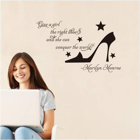 Newberli High Heels Geben Mädchen Einen Richtigen Schuh Marian Monroe Englisch Spruch Zitat Wandaufkleber Geschenk Für Mädchen Raum Diy Wohnkultur (Zitate Halloween Schuhe)