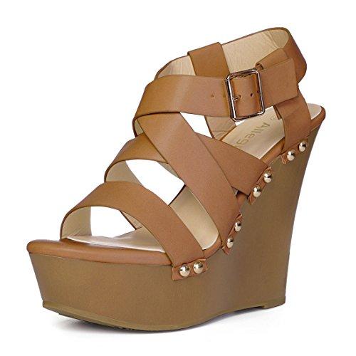 Allegra K Damen Offene Zehe Plattform Riemchen Keilabsatz Sandalen Plateau Sandalette Braun 37.5 EU/Label Size 7 US Strappy Platform Heels