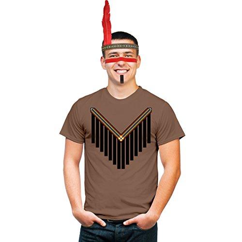Männer Indianer Kostüm mit Kopfschmuck und Make Up für Fasching und Karneval Shirt Kastanie (Indianer Kostüm Mann)