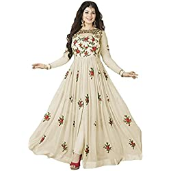 Clothfab Women Georgette Heavy Embroidery Work Pary Wear Anarkali Style Semi-Stitched Salwar Suit Dress Material With Dupatta (Off-White-Colour)