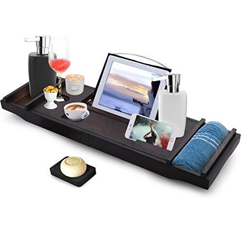 Himimi Bambus Badewannenablage ausziehbar, verstellbares Badewannenbrett mit Bücherregal, Handyhalter, Kerzenhalter, Seifenhalter, Zwei Herausnehmbaren Tabletts 75-111X23X4.5cm (BxTxH)
