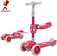 COOLBABY3 IN 1 Kick Scooter Ride-On Pedal Cars for Kids Skater Surf Scooter with Flashing Wheels Folding 3 Whe
