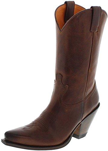 Sendra Boots Damen Cowboy Stiefel 15422 Tang Lederstiefel Westernstiefel Braun 41 EU