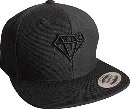 Cap: Diamond - Flexfit Snapback - Urban Streetwear - Männer Mann Frau-en - Baseball-cap - Hip-Hop Rap - Mütze - Kappe - Basecap Schwarz - Partner Schatz - Diamant (One Size)