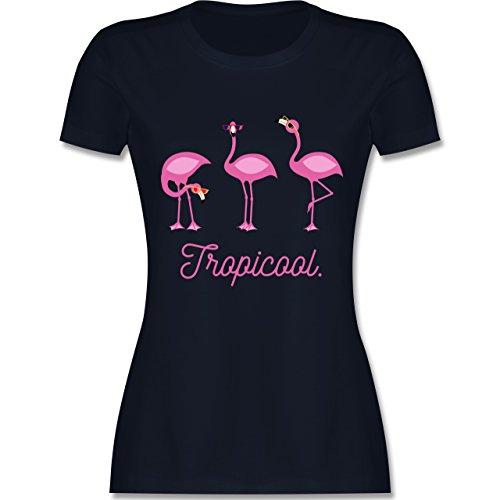 Vögel - Tropicool Flamingo Gang - tailliertes Premium T-Shirt mit Rundhalsausschnitt für Damen Navy Blau