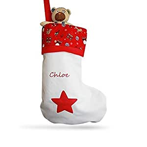 Juilet Rose Gifts ALPHABET BARN Christmas stocking personalised | kids babys 1st Christmas adults | handmade in the UK | embroidered name RED TOP | large 50cm tall