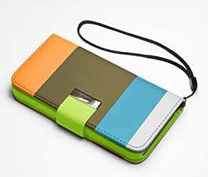 New Official Speedythings ® HYBRID STAND Blue-Khaki-Orange WALLET FLIP LEATHER CASE COVER FOR NOKIA LUMIA 800 + FREE Screen Protector