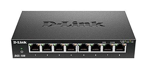 D-Link DGS-108 8-Port Layer2 Gigabit Switch (bis zu 2000 Mbit/s Datenübertragung pro Port, Non-Blocking-Architektur, lüfterlos, Metallgehäuse) schwarz