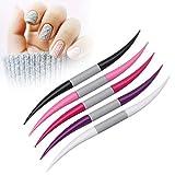 5 pz/set punteggia la penna, accessori per il disegno a casa, strumenti per manicure con strass, nail art perline saloni forma curva professionale doppia estremità pittura fai da te