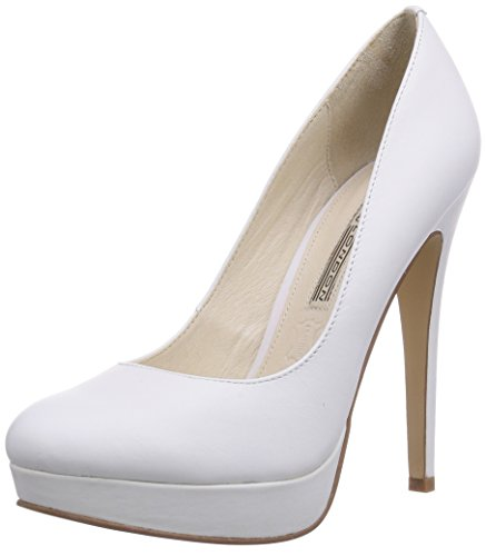 Buffalo London 112-2104 SILK LEATHER, Decolleté open toe donna, Bianco (Bianco), 38