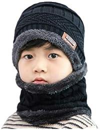 Ek Udaan - Black Color Winter Warm Hat Children Kids Outdoor Sports Hedging Hat Scarf Set Boys Girls Warm Fleece Cap Scarf Set Ski Equipment