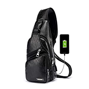 41Jo7 f8FrL. SS300  - Pawaca - Bolso bandolera para hombre, de piel sintética, con puerto USB, para uso al aire libre