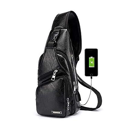 41Jo7 f8FrL. SS416  - Pawaca - Bolso Bandolera para Hombre, Piel sintética, con Puerto USB, para Negocios, Senderismo, Viajes
