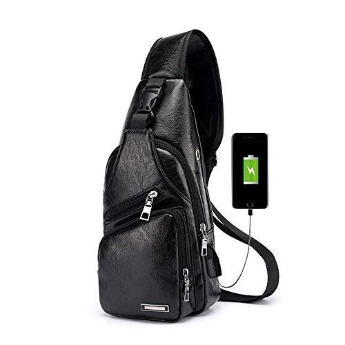 Pawaca Herren Sling Schultertasche, PU-Leder Outdoor-Brusttasche mit USB-Port Casual Umhängetasche Satchel Rucksack für Herren Business, Wandern, Reisen -