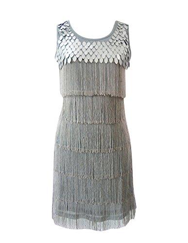 Damen Ohne Ärmel Kleider Quasten Swing Rhythmus Jazz Latein Weste Einfarbig Kleid Silber Einheitsgröße (Jazz-büste)