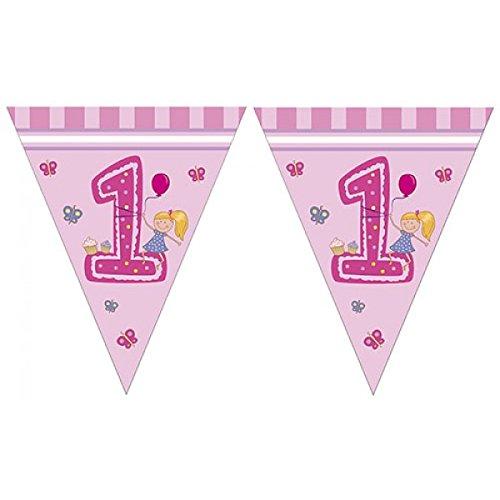 Procos Girls First - Mädchen - Erster Geburtstag Triangel Flaggen Banner