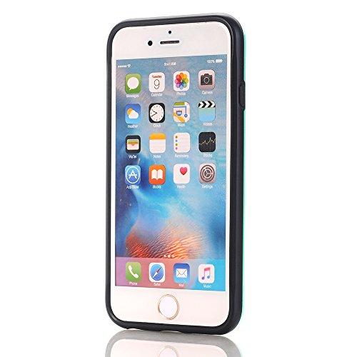 """iPhone 8 Plus / 7 Plus Hülle, Alfort 2 in 1 Schutzhülle Hart PC + TPU Case Cover Telefon Kasten Vollschutz für Apple iPhone 8 Plus / 7 Plus 5.5"""" Smartphone Super schön und glänzend ( Silber ) + Schwar Grün"""