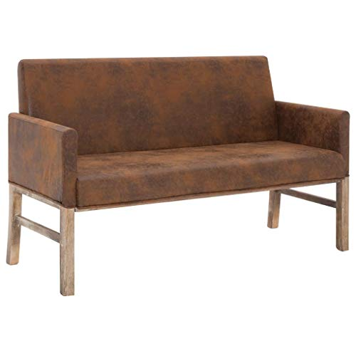 vidaXL Sitzbank mit Armlehnen Bank Polsterbank Sessel Sofa Couch Küchensofa Küchenbank Sofabank Sitzmöbel Wohnzimmer 2er 140cm Braun Wildleder Optik