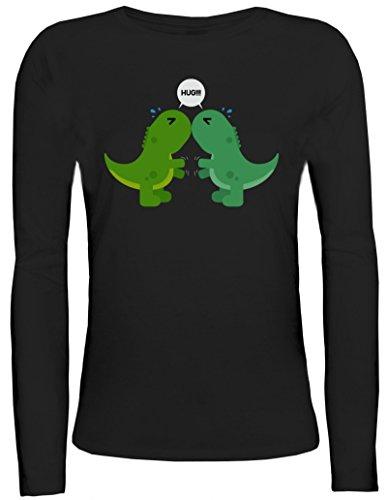 Geschenkidee Damen Longsleeve Langarm T-Shirt mit Dino Hug Motiv von ShirtStreet Schwarz