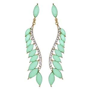 Via Mazzini Budding Elegance Mint Green Dangle Earrings