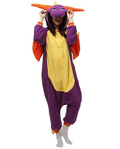Onesies mit Kapuze Erwachsene Unisex Cospaly Schlafanzug Halloween Kostüm Lila Drache Geeignet für Hohe 160-175CM (Genie Halloween-kostüm Für Erwachsene)