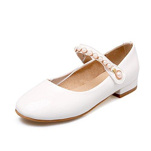 Moda scarpe delle signore quadrato basse leggera/scarpe di vernice fibbia cintura di perline/Studentesse Scarpe B