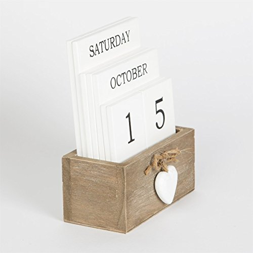 Pretty Ashley Farmhouse Wooden Perpetual Calendar Block with Heart Detail, Vintage Country Style.
