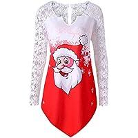 Gusspower Blusa de Sexy Encaje Mujer Navidad,Camiseta de Manga Larga Moda Papá Noel Estampado Floral Elegantes Tops Mujer